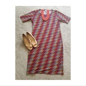 Lularoe Julia Fitted Midi Dress Coral, Red & Peach